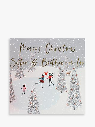 Belly Button Designs Skating Sister & Brother-in-Law Christmas Card