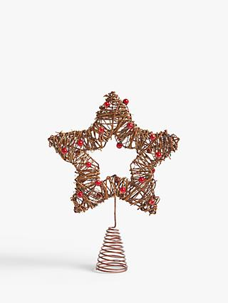 John Lewis & Partners Bloomsbury Berry Star Tree Topper, Red