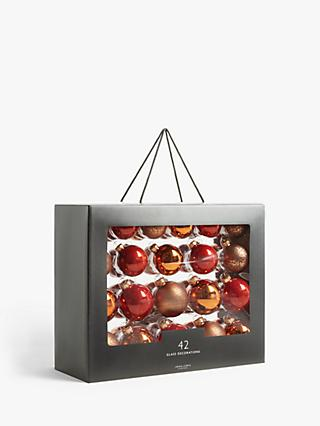 John Lewis & Partners Bloomsbury Baubles, Box of 42, Copper