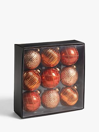 John Lewis & Partners Bloomsbury Assorted Large Baubles, Box of 9, Copper