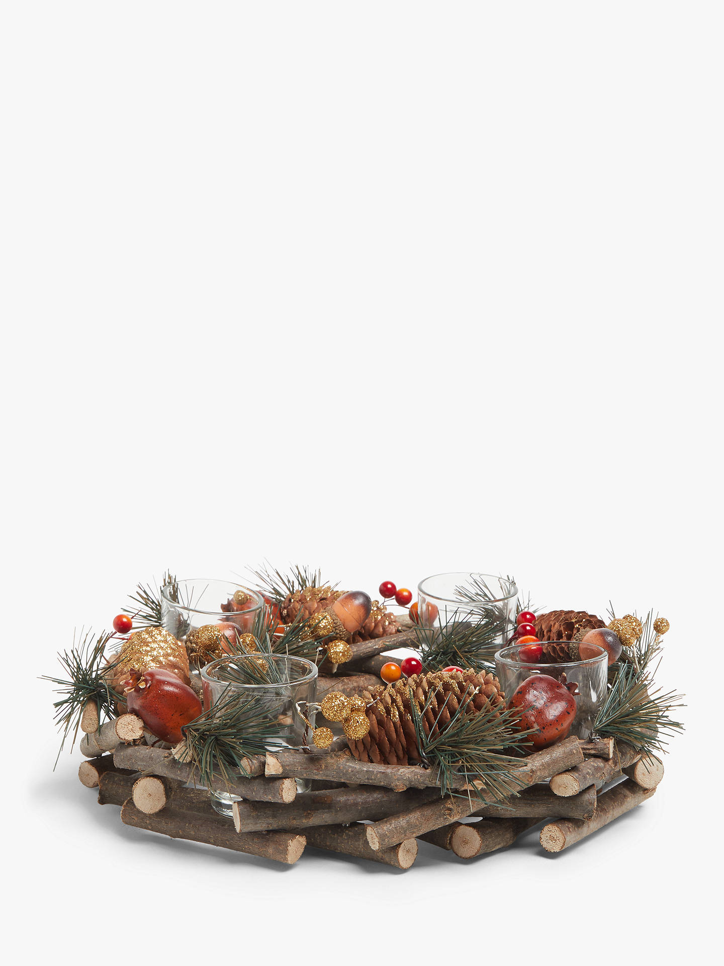 Buy John Lewis & Partners Bloomsbury Circular Pine Cone 4 Tealight Holder Online at johnlewis.com