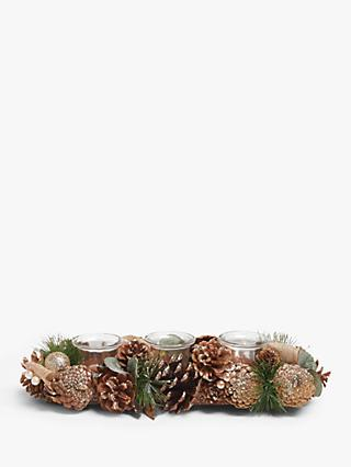 John Lewis & Partners Renaissance Pine Cone 3 Tealight Holder