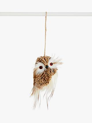 John Lewis & Partners Bloomsbury Faux Fur Owl Tree Decoration, Natural