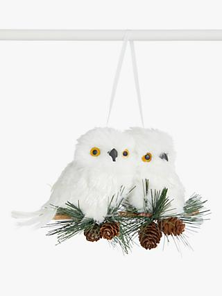 John Lewis & Partners Impressionism 2 Owls on a Branch Tree Decoration, Multi