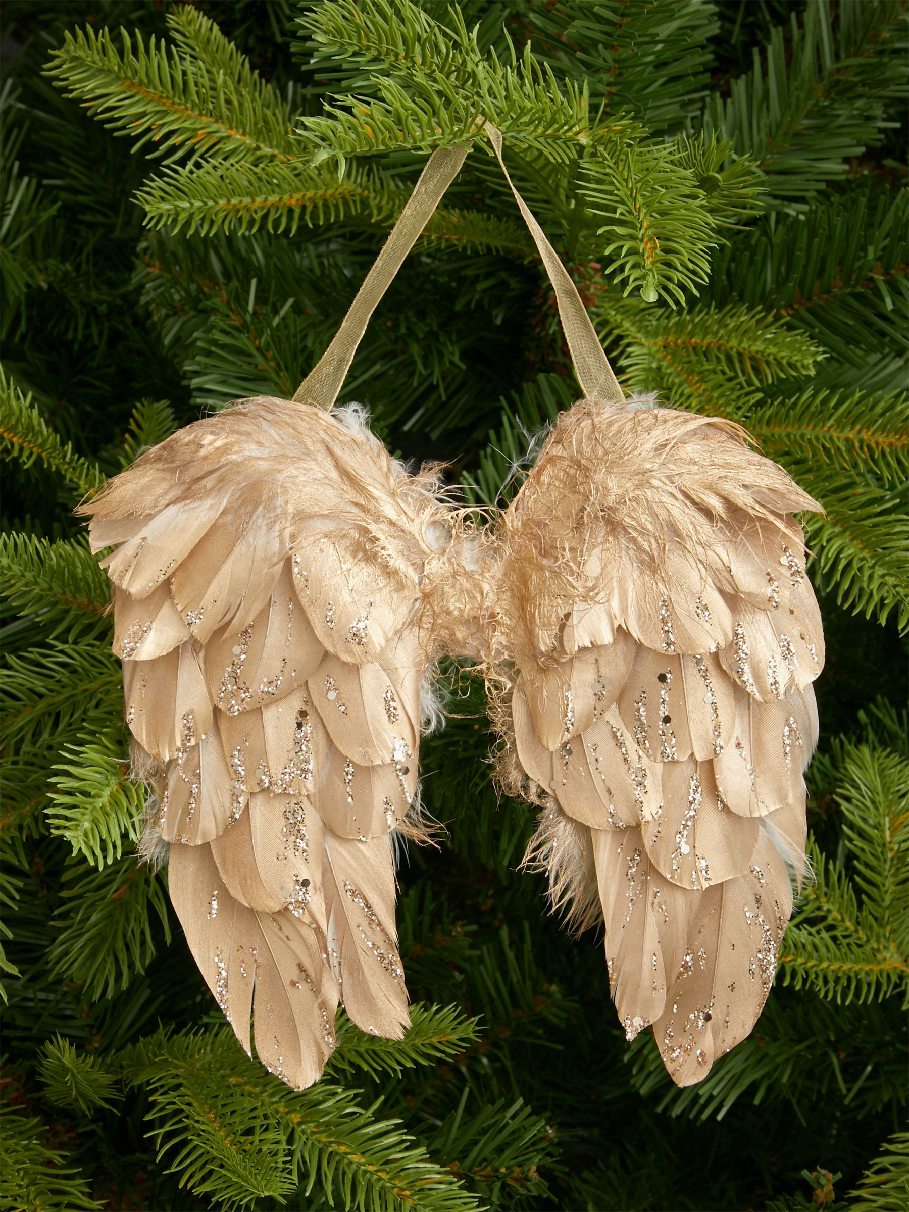 John Lewis & Partners Renaissance Feather Wings Tree Decoration, Gold