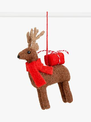John Lewis & Partners Pop Art Felt Reindeer Tree Decoration