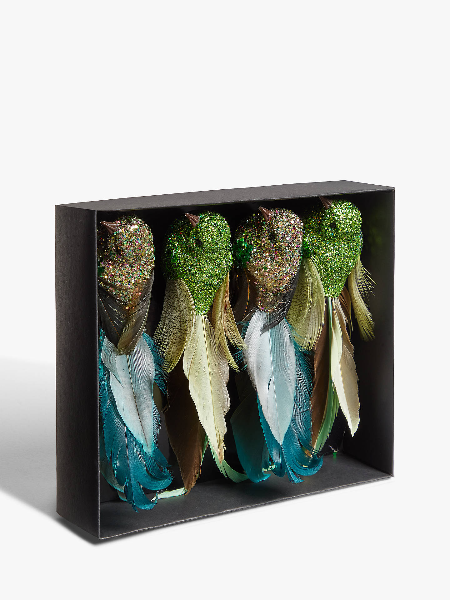 Buy John Lewis & Partners Post Impressionism Green Birds Clip On Tree Decorations, Pack of 4 Online at johnlewis.com