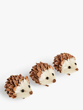 John Lewis & Partners Bloomsbury Hedgehog Tree Decorations, Box of 3, Brown