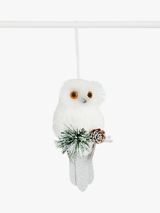 John Lewis & Partners Impressionism Glitter Owl and Pine Cone Tree Decoration, White