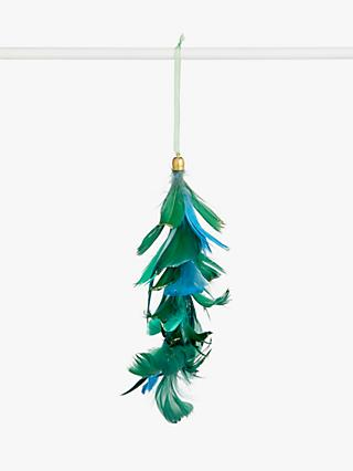 John Lewis & Partners Post Impressionism Hanging Feather Tree Decoration, Green / Blue