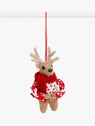 John Lewis & Partners Bloomsbury Deer in Jumper Tree Decoration, Red