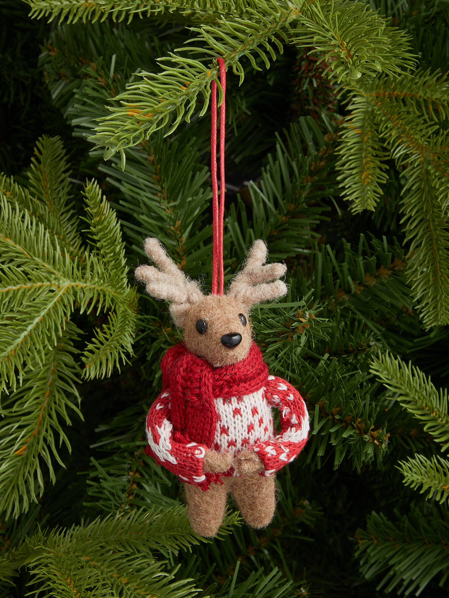 Buy John Lewis & Partners Bloomsbury Deer in Jumper Tree Decoration, Red Online at johnlewis.com