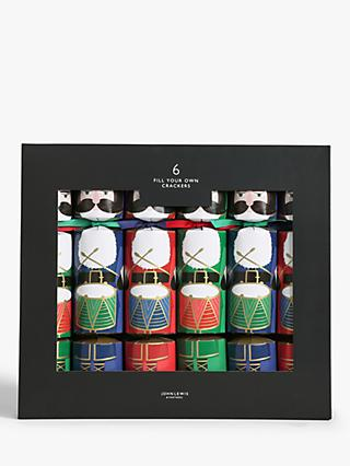 John Lewis & Partners Nutcracker Fill Your Own Merry Christmas Crackers, Pack of 6, Multi