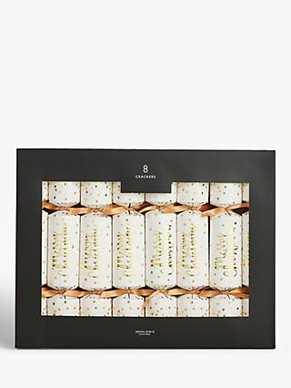 John Lewis & Partners Art Nouveau Merry Christmas Crackers, Pack of 8, Gold