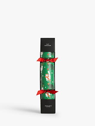 John Lewis & Partners Cat Single Christmas Cracker, Green