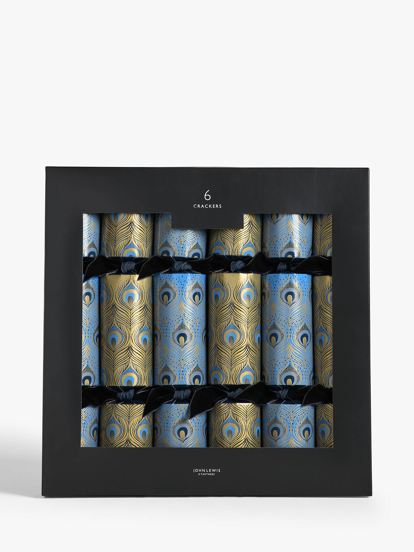 Buy John Lewis & Partners Art Nouveau Peacock Feather Christmas Crackers, Pack of 6, Blue / Gold Online at johnlewis.com