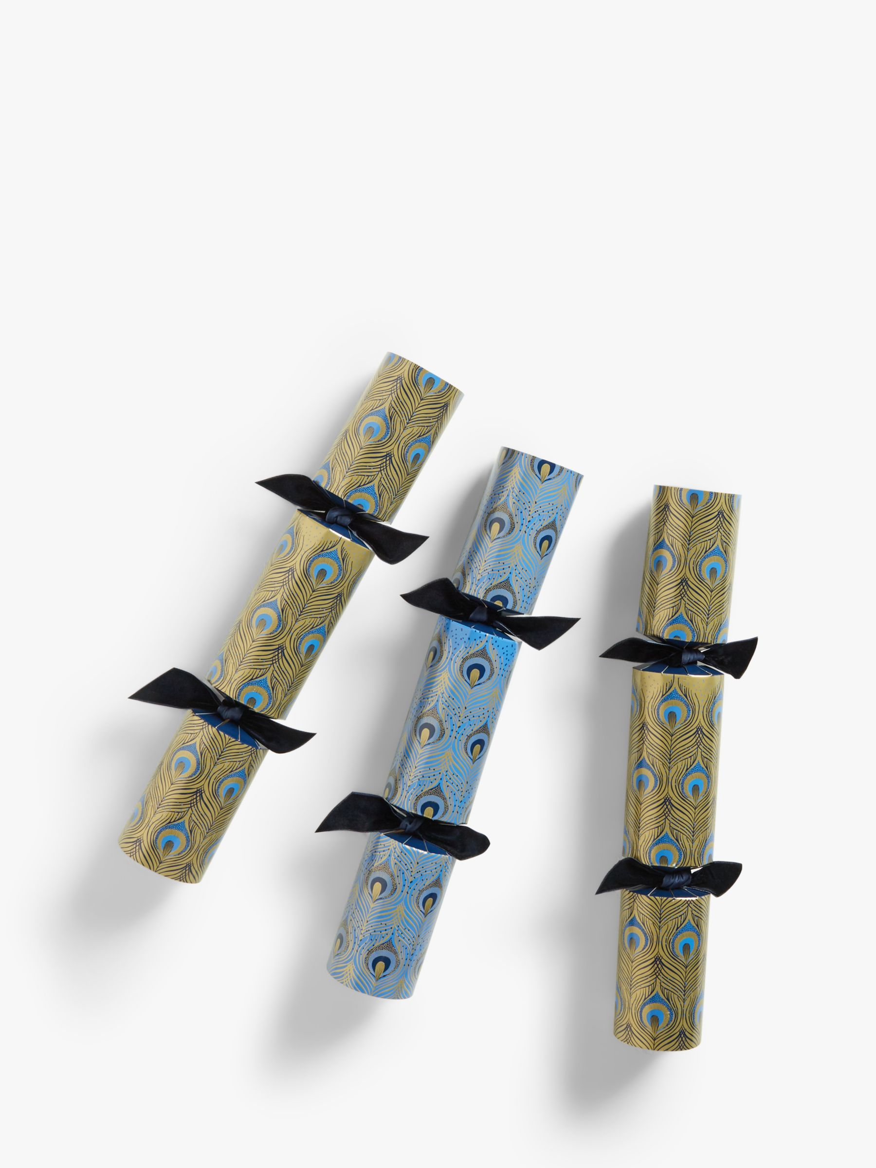 John Lewis & Partners Art Nouveau Peacock Feather Christmas Crackers, Pack of 6, Blue / Gold