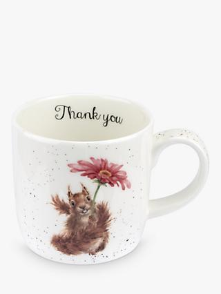 Wrendale Designs 'Thank You' Squirrel Mug, 310ml, White/Multi