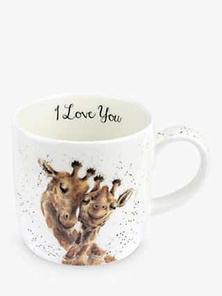 Wrendale Designs 'I Love You' Giraffe Mug, 310ml, White/Multi