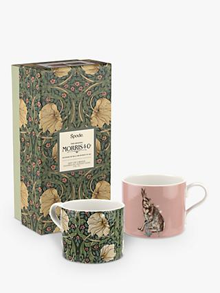 Morris & Co. Spode Pimpernel & Hare Mugs, Set of 2, 340ml, Pink/Green