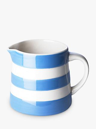Cornishware Striped Milk Jug, 280ml, Blue/White