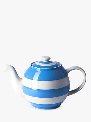 Cornishware Betty Striped Teapot, 1.4L, Blue/White