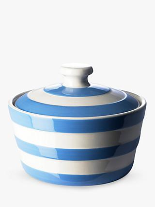 Cornishware Striped Butter Dish, Blue/White