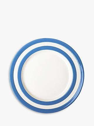 Cornishware Striped Lunch Plate, Dia. 25.4cm, Blue/White