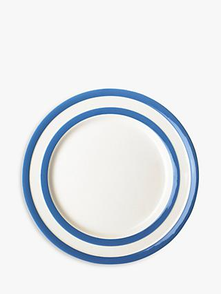 Cornishware Striped Breakfast Plate, Dia 22.8cm, Blue/White