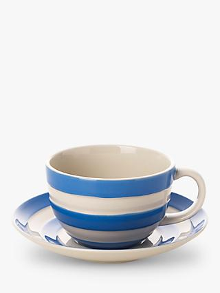 Cornishware Striped Cup & Saucer, 340ml, Blue/White