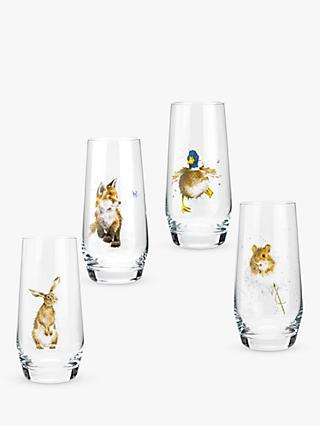 Wrendale Designs Woodland Wildlife Highball Glasses, Set of 4, 550ml, Clear/Multi