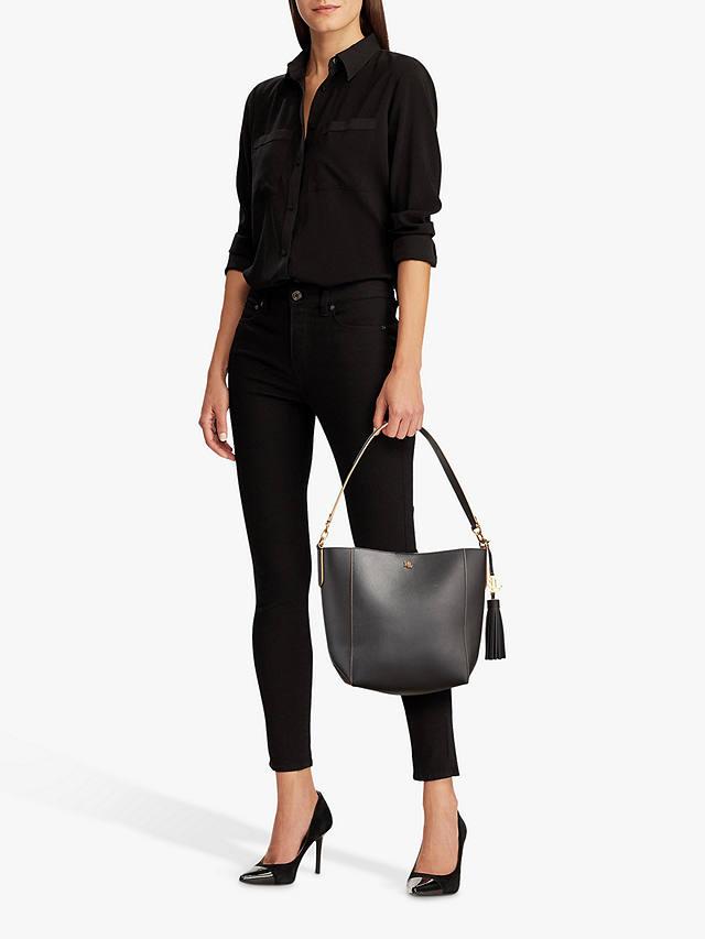 Lauren Ralph Lauren Embossed Black Medium Adley Shoulder