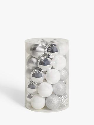 John Lewis & Partners Impressionism Assorted Shatterproof Baubles, Tub of 30, Silver