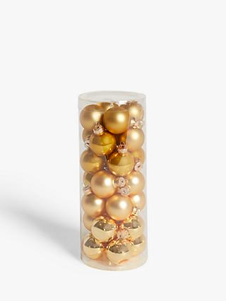 John Lewis & Partners Art Nouveau Mini Baubles, Tub of 28, Gold
