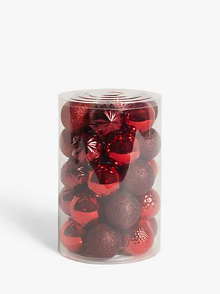 John Lewis & Partners Art of Japan Assorted Shatterproof Baubles, Tub of 30, Red