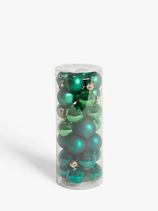 John Lewis & Partners Post Impressionism Mini Baubles, Tub of 28, Green