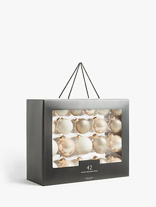 John Lewis & Partners Renaissance Baubles, Box of 42, Champagne