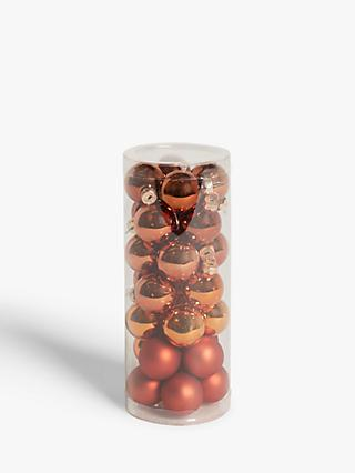 John Lewis & Partners Bloomsbury Mini Baubles, Tub of 28, Copper