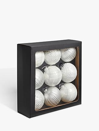 John Lewis & Partners Impressionism Assorted Large Baubles, Box of 9, White / Silver