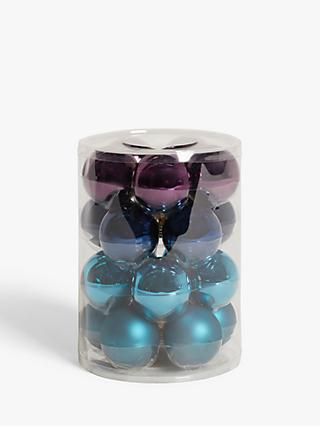 John Lewis & Partners Bloomsbury Baubles, Tub of 20, Blue / Purple