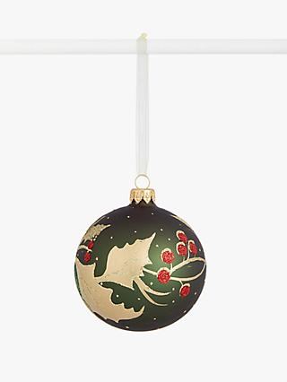 John Lewis & Partners Bloomsbury Holly Bauble, Green