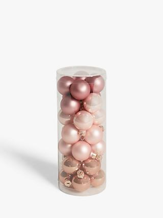 John Lewis & Partners Renaissance Mini Baubles, Tub of 28, Blush