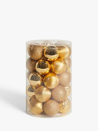 John Lewis & Partners Art Nouveau Assorted Shatterproof Baubles, Tub of 30, Gold