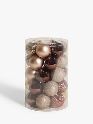 John Lewis & Partners Bloomsbury Assorted Shatterproof Baubles, Tub of 30, Dark Champagne