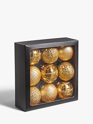 John Lewis & Partners Art Nouveau Assorted Large Baubles, Box of 9, Gold