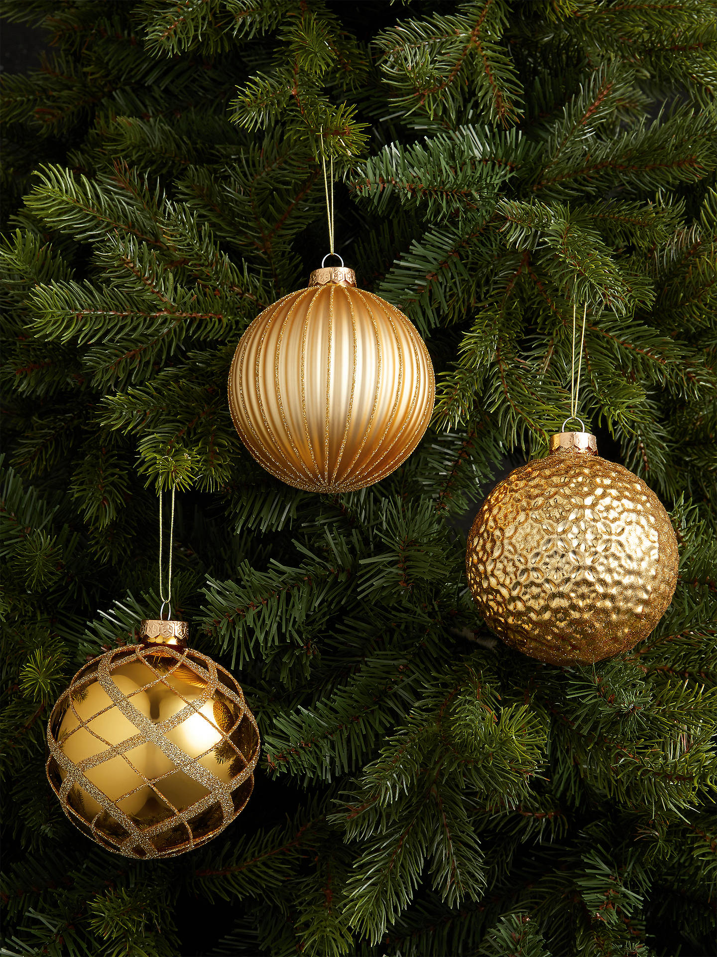 Buy John Lewis & Partners Art Nouveau Assorted Large Baubles, Box of 9, Gold Online at johnlewis.com