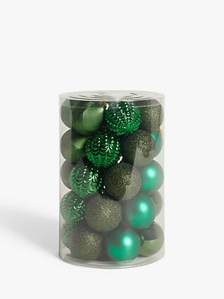 John Lewis & Partners Post Impressionism Assorted Shatterproof Baubles, Tub of 30, Green