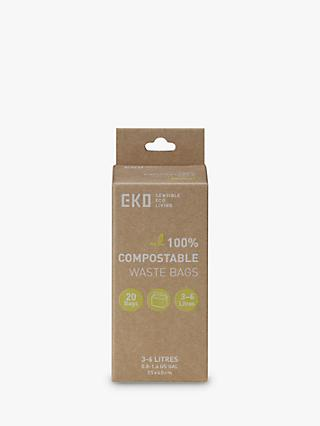 EKO Compostable Food Waste Bags, 3-6L Pack of 20