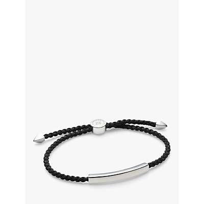 Monica Vinader Men's Linear Friendship Bracelet, Silver/Black