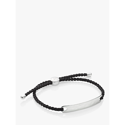 Monica Vinader Men's Havana Friendship Bracelet, Silver/Black